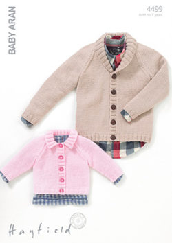 Hayfield Baby Aran Pattern 4499 Boys And Girls Cardigans