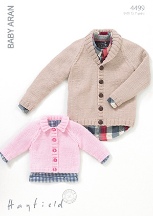 Hayfield Baby Aran Pattern 4499 Boys And Girls Cardigans
