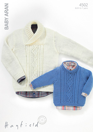 Hayfield Baby Aran Pattern 4502 Sweaters