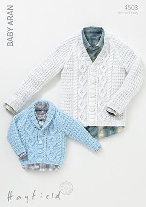 Hayfield Baby Aran Pattern 4503 Cardigans
