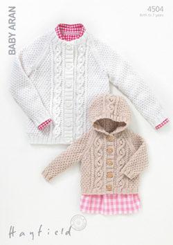 Hayfield Baby Aran Pattern 4504 Cardigans