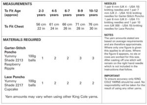 4537 Instructions King Cole