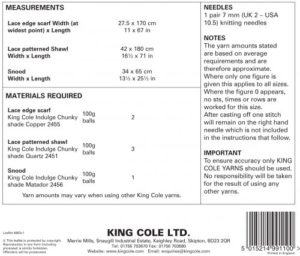 4863 Instructions King Cole