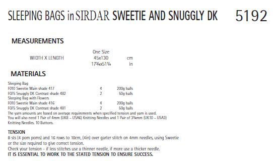 Sirdar 5192 Instructions