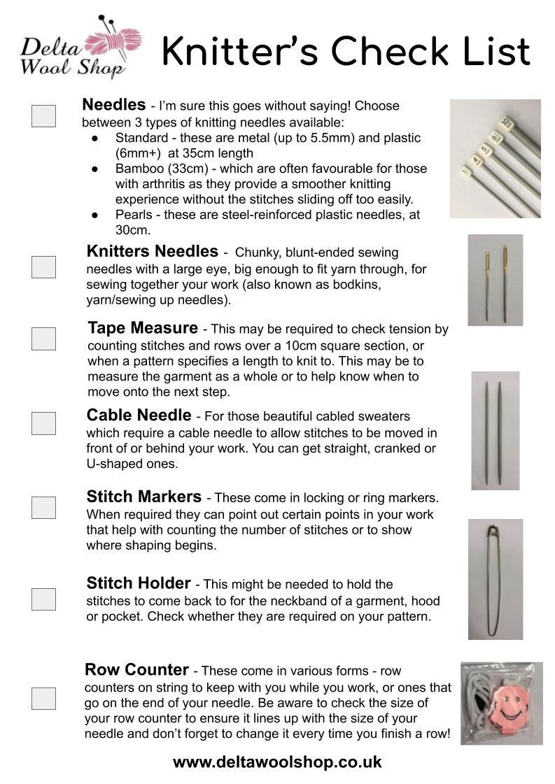 Knitter's Check List