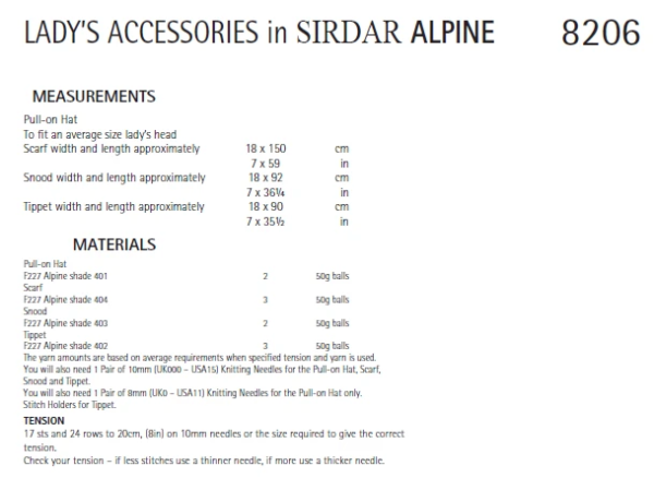 Sirdar 8206 Instructions