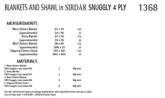 Sirdar 1368 Instructions