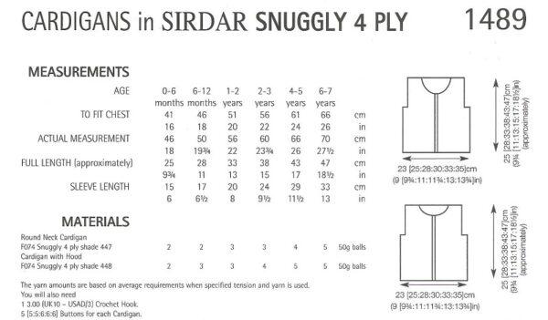 Sirdar 1489 Instructions