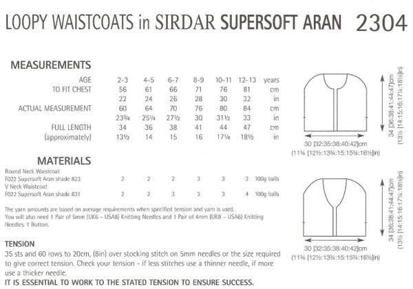 Sirdar 2304 Instructions