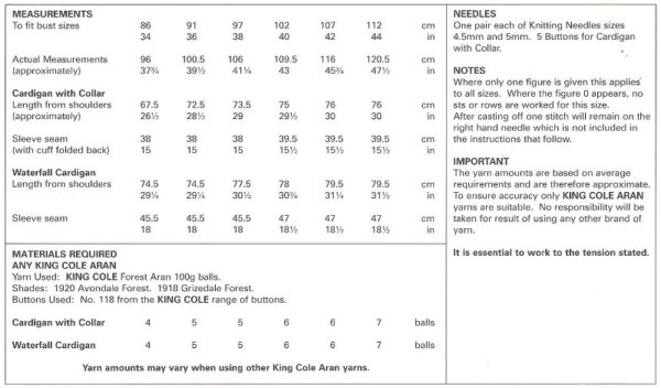King Cole 5658 Instructions