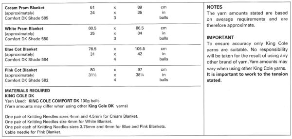 King Cole 3506 Instructions