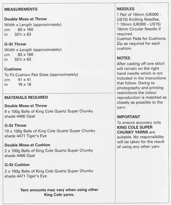 King Cole 5643 Instructions
