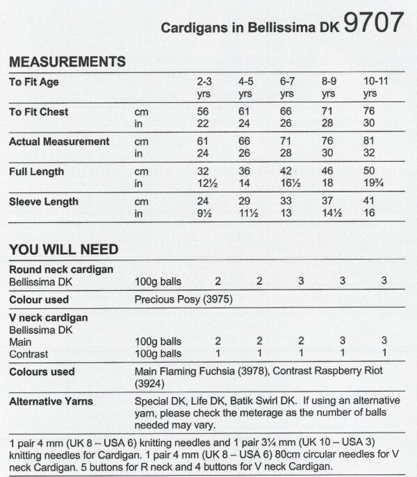 King Cole 9707 Instructions