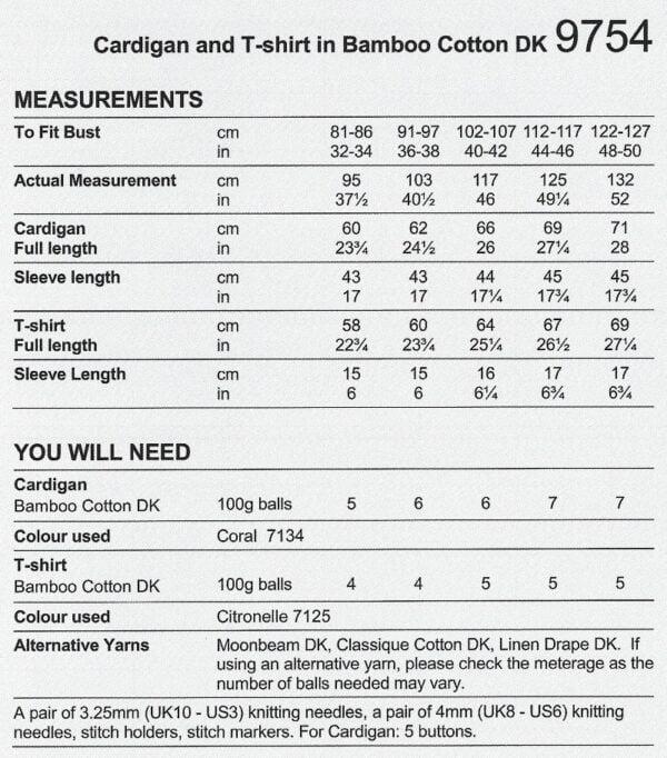 Stylecraft 9754 Instructions
